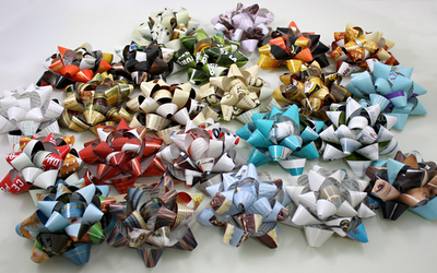Bows for presents made from magazine strips.