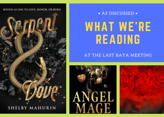 Book Covers of Serpent and Dove by Shelby Mahurin, Angel Mage by Garth Nix, and Trick by Ellen Hopkins.