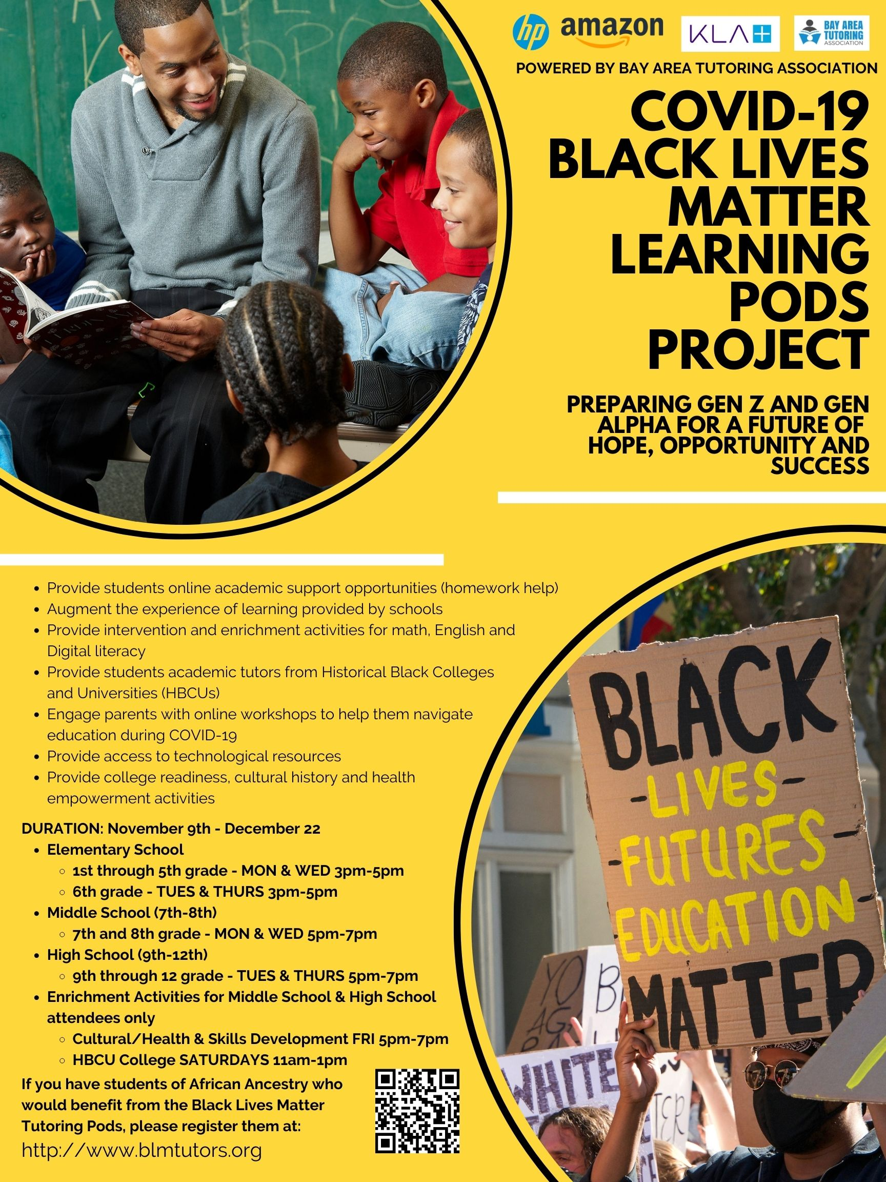 Flyer for COVID-19 Black Lives Matter Learning Pods Project: Preparing Gen Z and Gen Alpha for a Future of Hope, Opportunity and Success